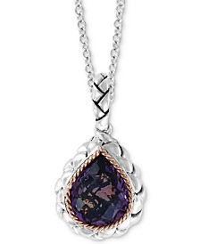 "EFFY® Amethyst 18"" Pendant Necklace (3-5/8 ct. t.w.) in Sterling Silver & 18k  Rose Gold"