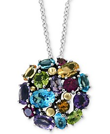 "EFFY® Multi-Gemstone Cluster Ball 18"" Pendant Necklace (6-1/4 ct. t.w.) in Sterling Silver & 18k Gold"