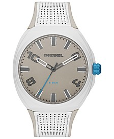 Men's Stigg White Leather Strap Watch 48mm
