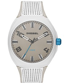 Diesel Men's Stigg White Leather Strap Watch 48mm
