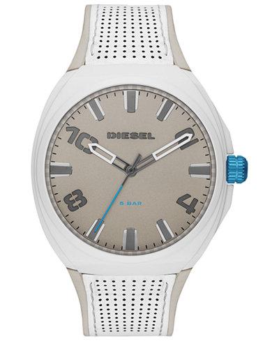 Diesel Men's Stigg White Leather Strap Watch 48mm