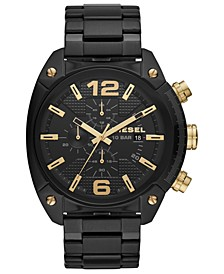 Men's Chronograph Overflow Black Stainless Steel Bracelet Watch 49mm