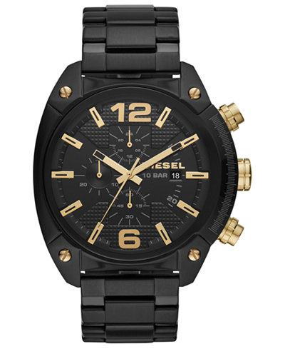 Diesel Men's Chronograph Overflow Black Stainless Steel Bracelet Watch 49mm