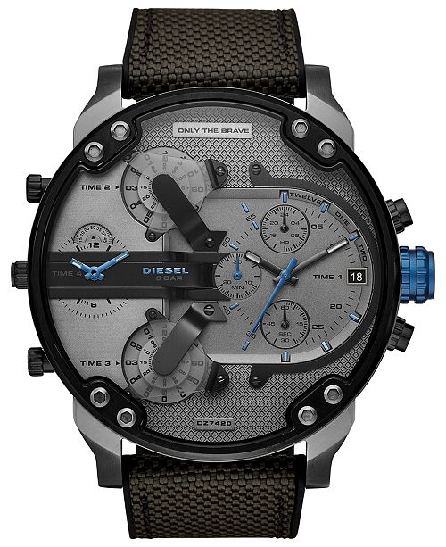 Diesel Men's Chronograph Mr. Daddy 2.0 Black Nylon Strap Watch 57mm