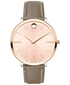 Movado Women's Swiss Ultra Slim Taupe Leather Strap Watch 35mm