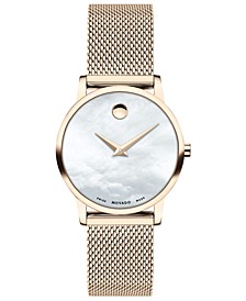 Women's Swiss Museum Pink Carnation PVD Stainless Steel Mesh Bracelet Watch 28mm