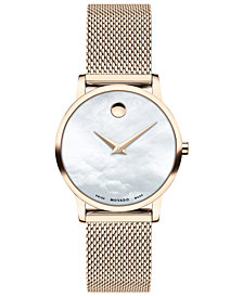 Movado Women's Swiss Museum Pink Carnation PVD Stainless Steel Mesh Bracelet Watch 28mm