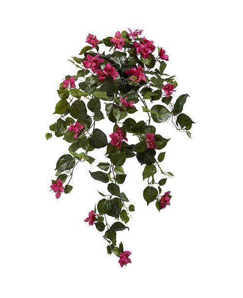 "Nearly Natural 37"" Bougainvillea Hanging Artificial Plant, Set of 2"