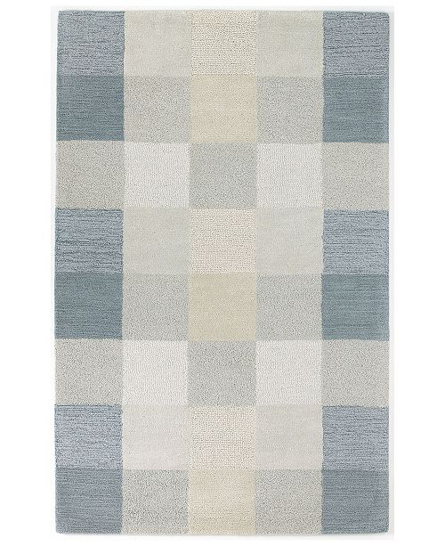 "Kas CLOSEOUT! Eternity Checkerboard 1081 Light Blue 3'3"" x 5'3"" Area Rug"