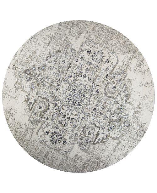 "Kas Seville Medallion 9471 Ivory/Grey 7'7"" Round Area Rug"