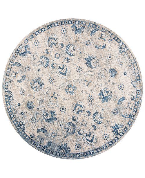"""Kas Seville Sutton 9480 Grey/Blue 7'7"""" Round Area Rug"""