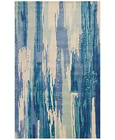 KAS Whisper Brushstroke 3004 Ivory/Blue 5' x 8' Area Rug