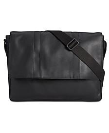 Men's Faux-Leather Messenger Bag