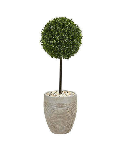 Nearly Natural 3' Boxwood Ball Topiary Artificial Tree in Oval Planter UV Resistant