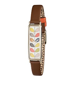 Orla Kiely Watch, Tan Leather Strap With Buckle Closure