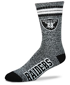 For Bare Feet Oakland Raiders Marbled 4 Stripe Deuce Crew Socks