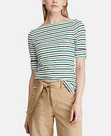Lauren Ralph Lauren Petite Striped Stretch Top