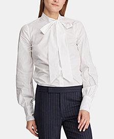 Lauren Ralph Lauren Petite Tie-Neck Cotton Shirt