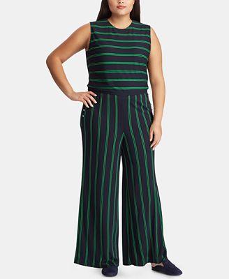Lauren Ralph Lauren Plus Size Striped Varsity-Inspired Jumpsuit