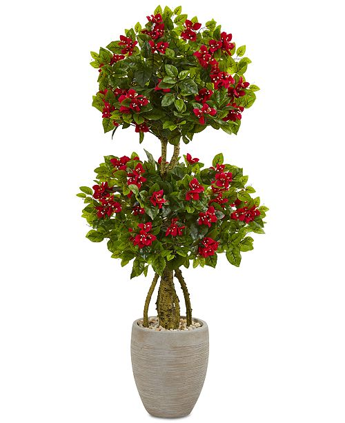 Nearly Natural 4.5' Double Bougainvillea Topiary Artificial Tree in Oval Planter