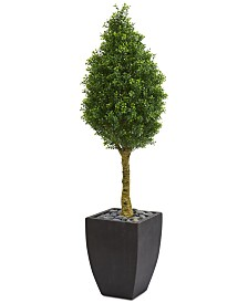 Nearly Natural 5' Boxwood Cone Artificial Tree in Black Wash Planter UV Resistant