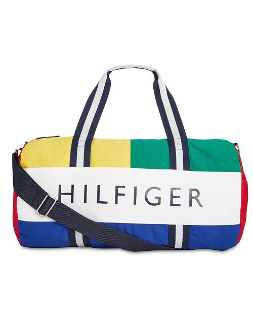14abf23a9 ... Tommy Hilfiger Men's Dougie HP Colorblocked Logo Duffel Bag, Created for  Macy's ...