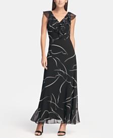DKNY Ruffle Chiffon Printed Maxi Dress, Created for Macy's