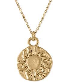 "RACHEL Rachel Roy Gold-Tone Sun & Moon Reversible Pendant Necklace, 16"" + 2"" extender"
