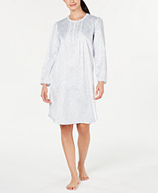 Miss Elaine Long Sleeve Brushed-Back Satin Printed Gown