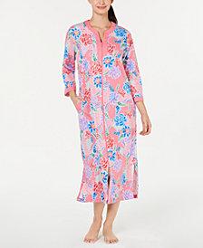 Miss Elaine Printed Seersucker Zip-Up Robe