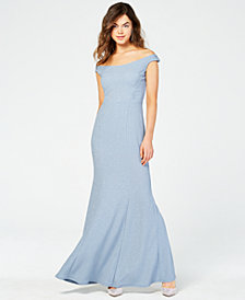 Speechless Juniors' Allover-Glitter Off-the-Shoulder Gown, Created for Macy's