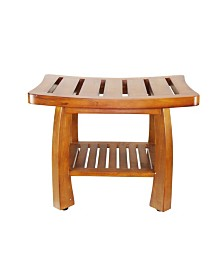 Oceanstar Solid Wood Spa Bench with Storage Shelf