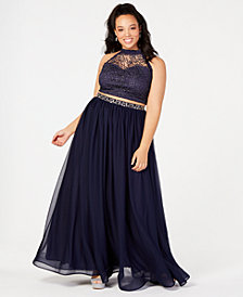My Michelle Trendy Plus Size 2-Pc. Glitter Crochet Gown, Created for Macy's