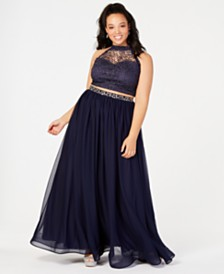 Sequin Hearts Trendy Plus Size 2-Pc. Glitter Crochet Gown, Created for Macy's