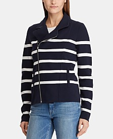 Lauren Ralph Lauren Striped Moto Zip Front Jacket
