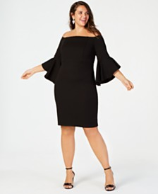 Teeze Me Trendy Plus Size Off-The-Shoulder Bell-Sleeve Dress