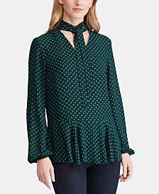 Lauren Ralph Lauren Dot Print Tie Neck Georgette Top