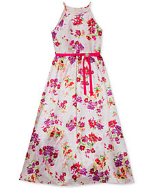 Rare Editions Little Girls Floral-Print Mikado Maxi Dress
