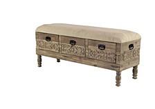 """Rustic 20"""" x 47"""" Three-Drawer Storage Bench with Cushioned Seat"""