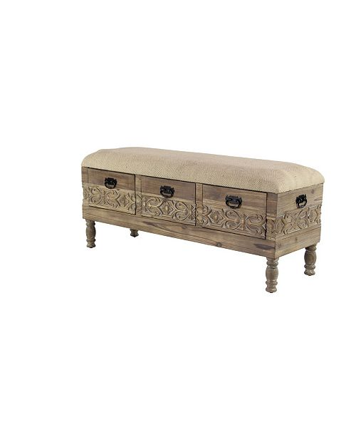 """Rosemary Lane Rustic 20"""" x 47"""" Three-Drawer Storage Bench with Cushioned Seat"""