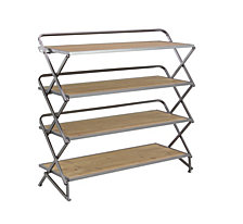 "Farmhouse 30"" x 34"" Wood and Iron Foldable Four-Tiered Shelf"