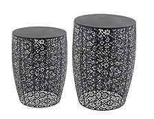 "Set of 2 Modern 20"" and 24"" Black Solar Side Tables"