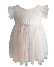 Little Girls Light Peach Polka Dots Dress