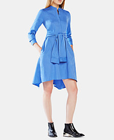 BCBGMAXAZRIA Cotton Tie-Waist Shirtdress