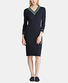 Lauren Ralph Lauren Petite V-Neck Sweater Dress