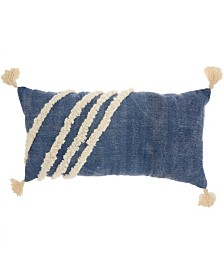 """Studio NYC Collection """"Diagonal Texture"""" Blue Throw Pillow by Mina Victory"""