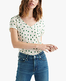 Lucky Brand Cuffed Clover-Print T-Shirt