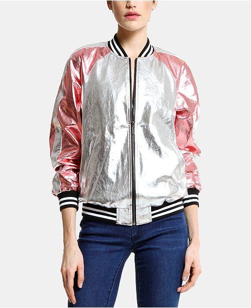 ARTISTIX Metallic Faux-Leather Baseball Jacket