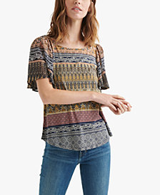 Lucky Brand Printed Keyhole-Back Top