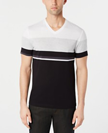 Alfani Men's Textured Colorblocked V-Neck T-Shirt, Created for Macy's